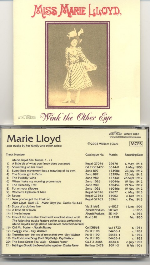 Marie Lloyd's songs on CD
