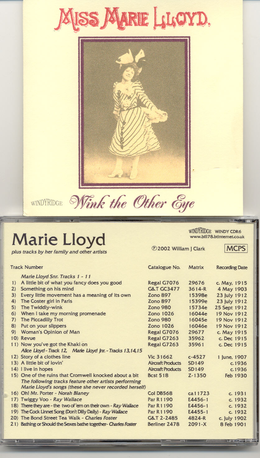 Marie LLoyd songs on CD Music Hall