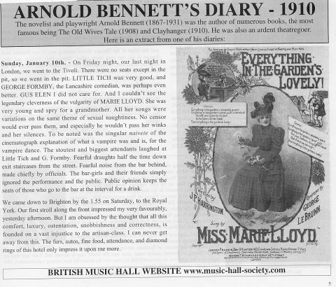 Marie Lloyd – Arnold Bennett's reference in 1910