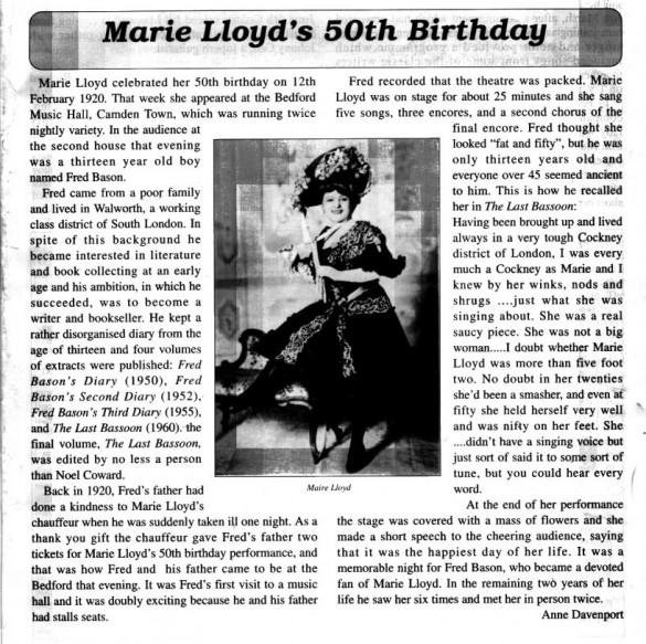 Marie Lloyd 50 birthday Music Hall