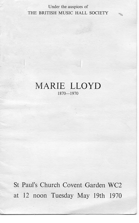 Marie Lloyd Centenary Service Sta Pauls Covent Garden