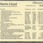 Marie Lloyd Play List CD Music Hall